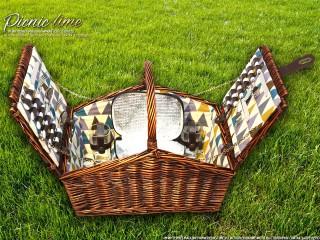 Набор для пикника на 4 персоны «Плетёная корзина C020 Шоколад»