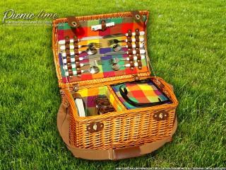 Набор для пикника на 4 персоны «Плетёная корзина 4288K Мёд»