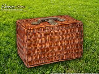 Набор для пикника на 4 персоны «Плетёная корзина C004K Шоколад»