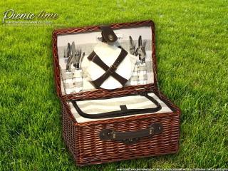 Набор для пикника на 4 персоны «Плетёная корзина C004 Шоколад»